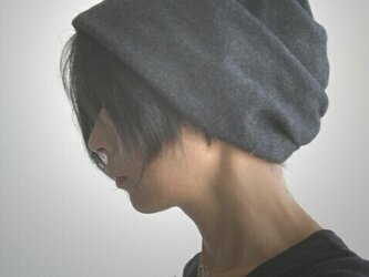 ターバンな帽子 グレー+グリーン 送料無料の画像