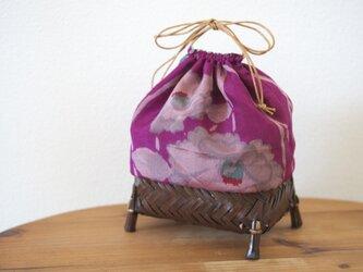 銘仙のかご巾着 椿の画像