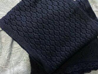 ウールの透かし編みショールの画像
