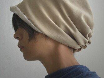 ターバンな帽子 キャメルベージュ+ナチュラル 送料無料の画像