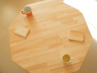 ハチカク幸せローテーブル【ナチュラル色♧】の画像
