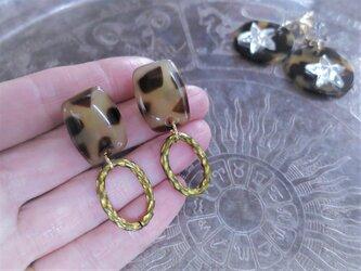 レオパード&リングピアス vintage pierced earrings leopard <PE-LPRG>の画像