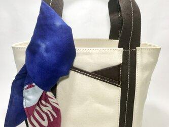 パラフィンキャンバス×本革 スカーフ(ブルーxピンク)ミニトートバッグ の画像