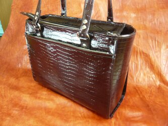 受注生産 濃い目ワイン色のレデイズトートバッグの画像