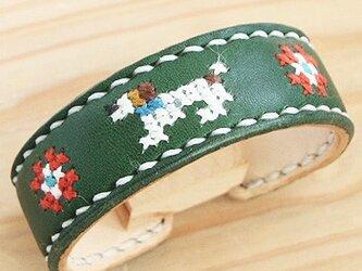 革製 クロスステッチバングルM(緑)の画像