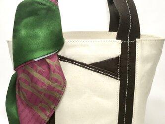 パラフィンキャンバス×本革 スカーフ(グリーンxピンク)ミニトートバッグ の画像