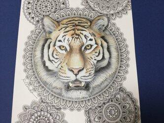 原画 肉筆 一点もの ボールペンアート  虎 トラ とら  百貨店作家 人気 ボールペン画 絵画の画像