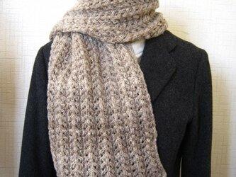 手紡ぎマフラー 透かし編みの画像