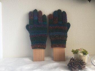 【再販】★☆手編みのカラフル5本指手袋(^^♪☆★の画像