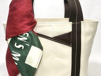パラフィンキャンバス×本革 スカーフ(レッドxグリーン)ミニトートバッグ の画像