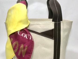 パラフィンキャンバス×本革 スカーフ(イエローxピンク)ミニトートバッグ の画像