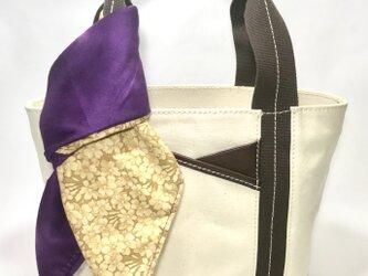 パラフィンキャンバス×本革 スカーフ(パープルxベージュ)ミニトートバッグ の画像