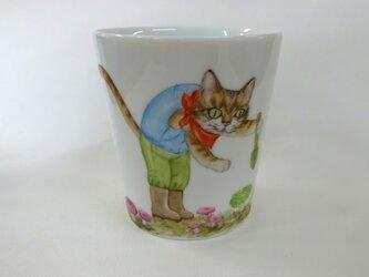アイタケとねこのマグカップ(手描き)の画像