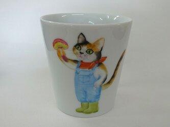 イグチとねこのマグカップ(手描き)の画像