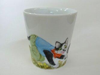 きのことねこのマグカップ(手描き)の画像