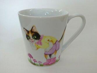 ハナオチバタケとねこのマグカップ(手描き)の画像