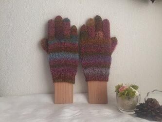 【受注生産】★☆手編みのカラフル5本指手袋(^^♪☆★の画像