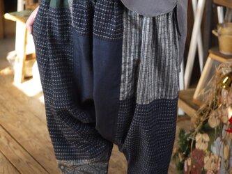 正絹と久留米絣のパッチワークサルエルパンツの画像