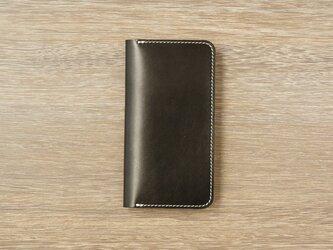 牛革 iPhoneXS/Xカバー  ヌメ革  レザーケース  手帳型  ブラックカラーの画像