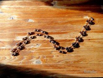 スモーキークォーツ(レクタングルカット)のネックレスです(約93cm)の画像