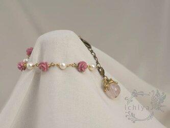 薔薇うさぎブレスレット ローズクォーツ、ロードナイト、パールの画像