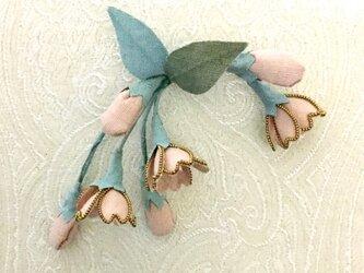 卒業式にお勧め・桜のコサージュ(結城紬ピンク)髪飾りにも289の画像