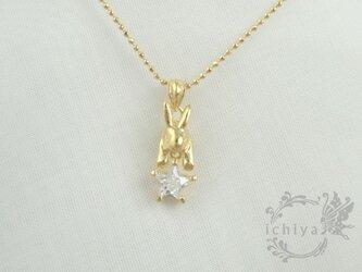 星うさぎペンダント ジルコニア、シルバー925、18金メッキの画像