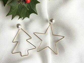 14kgfのクリスマスピアス パールキャッチ付きの画像