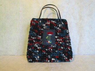 裂き編みと刺繍のミニバッグの画像