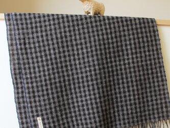 ホームスパン大判ストール 黒×グレーのギンガムチェックの画像