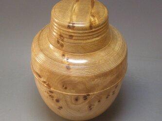 ニレ欅瘤杢材 壺 ガラスコート仕上げの画像