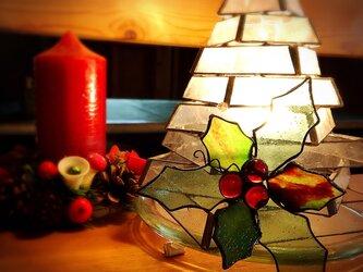 ガラスのクリスマス ステンドグラス   オーナメント ヒイラギBの画像