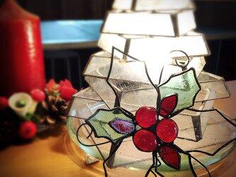 ガラスのクリスマス ステンドグラス   オーナメント ヒイラギAの画像