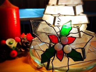 ガラスのクリスマス ステンドグラス   オーナメント ヒイラギCの画像