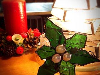 ガラスのクリスマス ステンドグラス   オーナメント ヒイラギDの画像