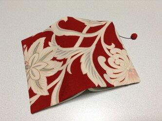 ★再販★    358    錦紗    華模様    文庫サイズブックカバー     朱赤色の画像
