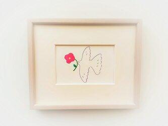 【受注制作】「春を運ぶ」イラスト原画 ※木製額縁入りの画像