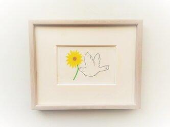【受注制作】「幸せを運ぶ(向日葵)」イラスト原画 ※額縁入りの画像