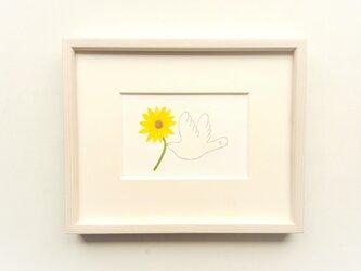 原画「幸せを運ぶ(向日葵)」水彩イラスト ※木製額縁入りの画像