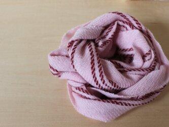 カシミヤマフラー ピンクにワイン色のライン 手織りの画像