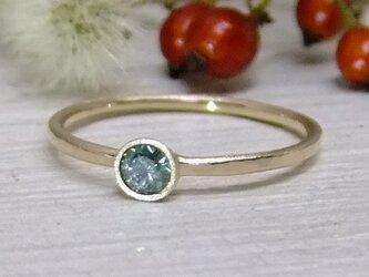 ミントブルーダイヤ(Trt)*K14lunapinkgold ringの画像