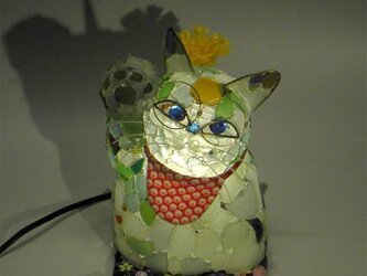 シーグラスランプ 招き猫のランプー3の画像