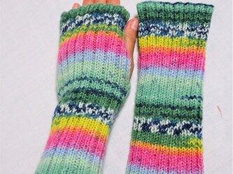 ☸売り切れました ☬オーダー受注販売可能です ★ドイツopal毛糸 指無し手袋&ハンドウォーマーの画像