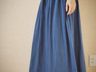 コットンニットスカート ブルーの画像