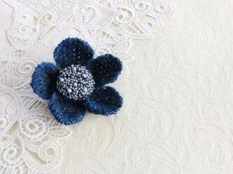 ニット花のブローチ・シングルの画像