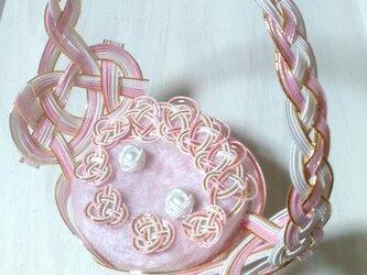 水引 ウェディングリングピロー 桜かご 結婚式の画像