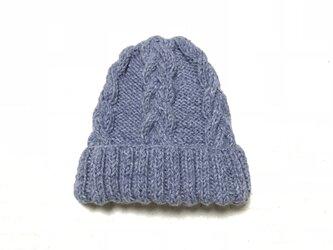 ニット帽 グレー×ブルー 男女兼用の画像