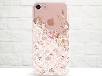 Autumn Flower Composition with Marble Pattern クリアソフト ケースの画像
