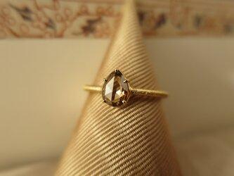 K18  Pear shape Brown Diamond  Ringの画像
