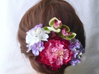 ピオニーと紫陽花の髪飾りの画像